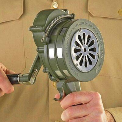 Hand Crank Air Raid Siren In Use